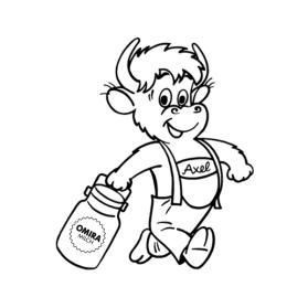 Vorschaugrafik zur Malvorlage Axel schwingt Milchkanne
