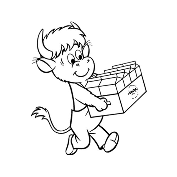 Vorschaugrafik zur Malvorlage Axel mit Schulmilchvorrat