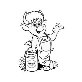 Vorschaugrafik zur Malvorlage Axel stützt sich auf Milchkanne ab
