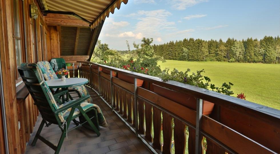 Ausblick der Dachwohnung vom Bauernhof der Familie Strodel