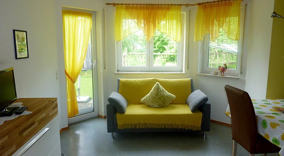 Wohnzimmer der Ferienwohnung von Familie Hahn