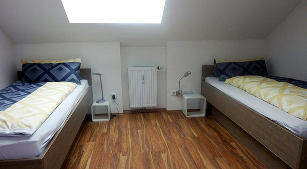 Schlafzimmer einer Ferienwohnung von Familie Hahn
