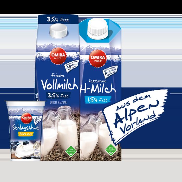 OMIRA Produkte mit Alpenvorland Störer