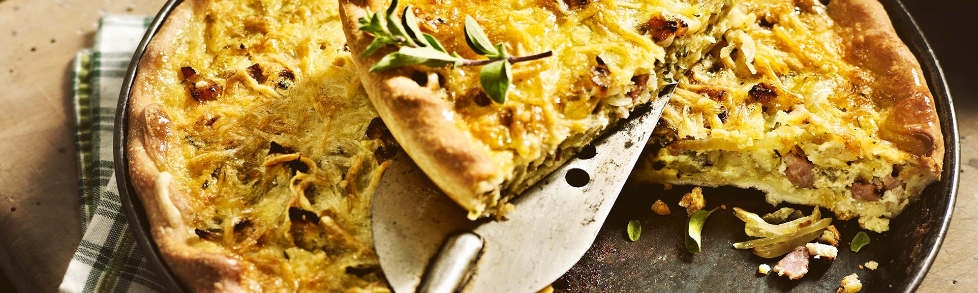 Headerabbildung zum Rezept bayerischer Speck-Zwiebelkuchen