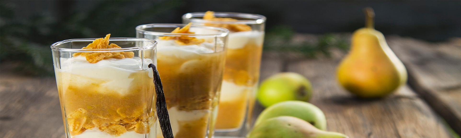 Headerabbildung Birnendessert mit Vanillejoghurt